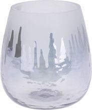 Billede af FYRFADSSTAGE GLAS STR. 11 CM. GRÅ MED VINTERMOTIV