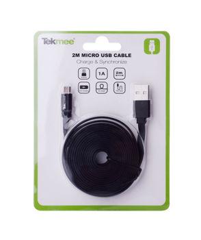 Billede af MICRO USB KABEL 2 M SORT FLAD TIL ANDROID